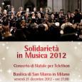 Venerdì 21 dicembre, alle ore 21.00, presso la Basilica di San Marco in Milano, si terrà un Concerto di Natale per Telethon.