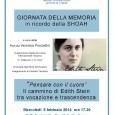 """Mercoledì 5 febbraio 2014 alle ore 17.30, presso Caffè Zamberletti, C.so Matteotti, Varese, si terrà, in ricordo della Giornata della Memoria, una conferenza dal titolo: """"Pensare con il cuore"""" Il cammino di Edith Stein, a cura della Prof.ssa Veronica Ponzellini."""